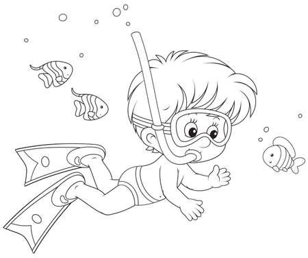 skin diving: Little diver Illustration