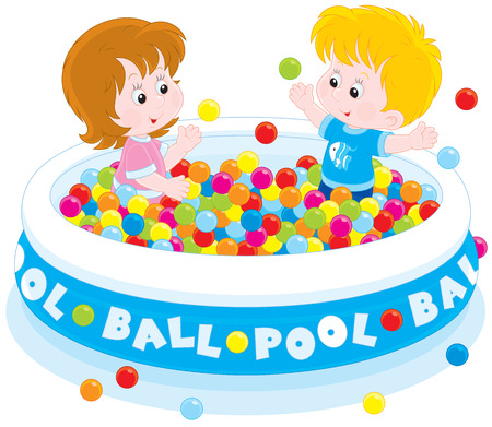 lively: Children play in a ball pool