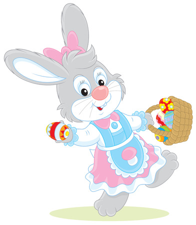 colorfully: Easter Bunny with a basket of eggs