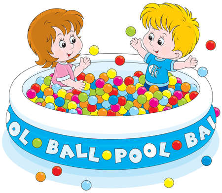 child of school age: Children play in a ball pool