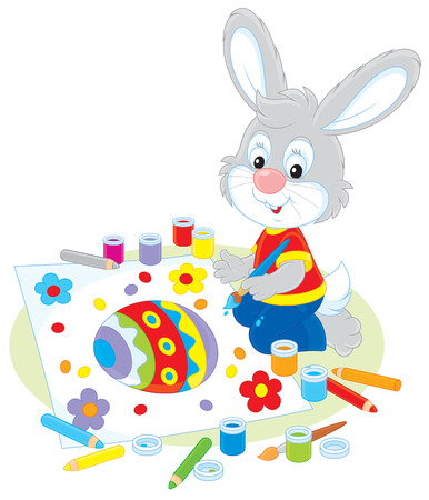 cottontail: Little Bunny draws an Easter card Illustration