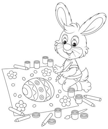 Little Bunny draws an Easter card Vector
