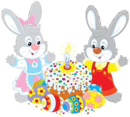 rejoicing: Torta di Pasqua e uova dipinte Vettoriali
