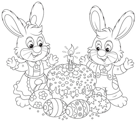 Easter cake and painted eggs Vector