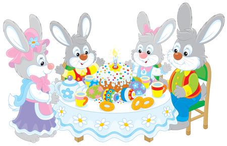 rejoicing: Coniglietti di pasqua a tavola festiva Vettoriali