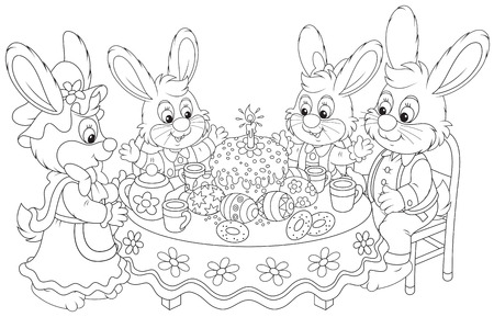 festal: Family of rabbits celebrating Easter