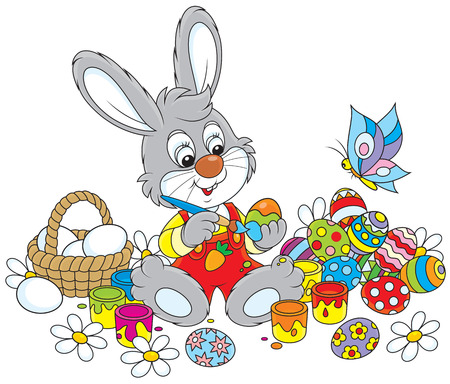 cottontail: Rabbit coloring Easter eggs to the holiday