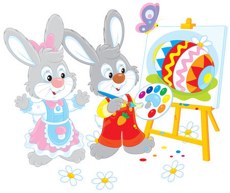 Easter Bunnies painters Vector