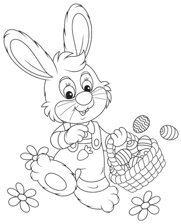 colorfully: Little rabbit walking with a basket of Easter eggs