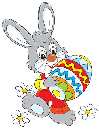 Little rabbit carries a painted Easter egg Vector