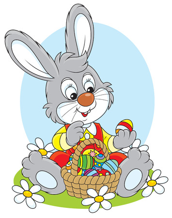 easter eggs basket: Easter Bunny with a basket of eggs