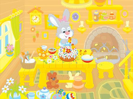 rejoicing: Coniglietto di Pasqua cuoce una torta di vacanza