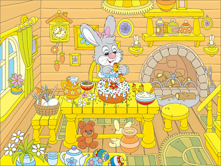 festal: Little rabbit decorating a fancy Easter cake