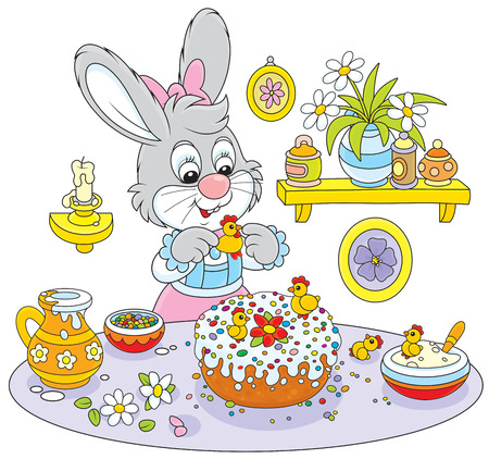 solemnization: Bunny cooks a holiday cake to Easter