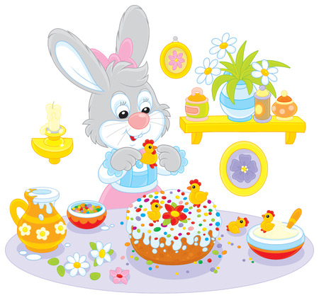 festiveness: Easter rabbit decorating a fancy cake