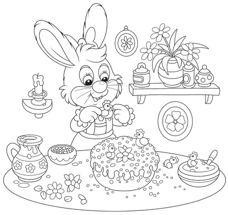 eastertide: Bunny cooks a holiday cake to Easter