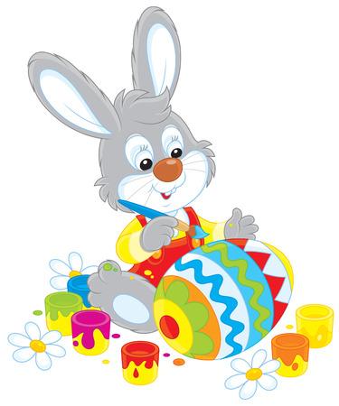 eastertide: Little rabbit coloring a big Easter egg Illustration
