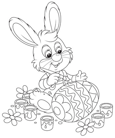 coloring easter egg: Little Bunny painting an Easter egg
