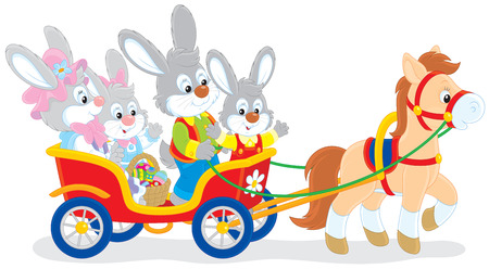 cottontail: Easter bunnies riding a pony carriage
