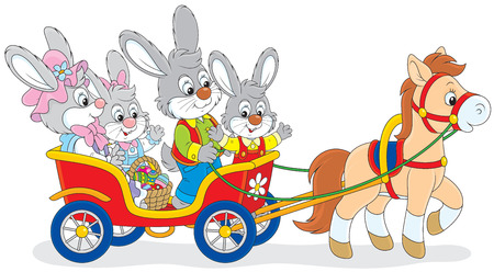 horse and carriage: Family of rabbits travelling in a cart with a pony Illustration