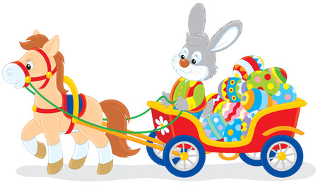 horse cart: Rabbit carrying Easter eggs in a cart with a pony Illustration