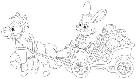 Rabbit carrying Easter eggs in a pony cart  Vector
