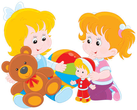 pre school: Little girls play with toys