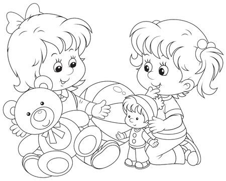 kind spielen: Kleine M�dchen mit ihrem Spielzeug auf dem Boden spielen