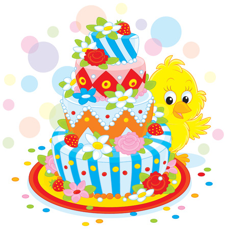 nestling: Little Chick with a cake