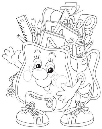 schooldays: Funny schoolbag  Illustration