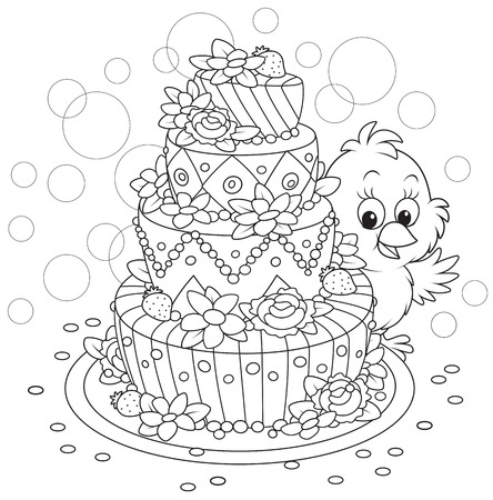 Little Chick with a holiday cake Vector
