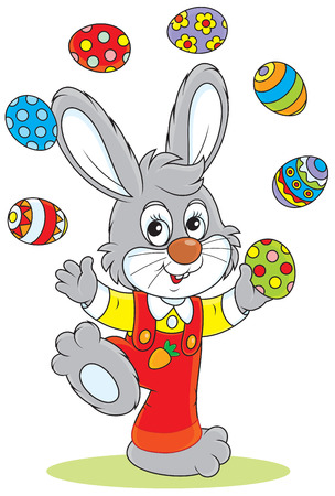 Little rabbit juggling with colorful Easter eggs Vector