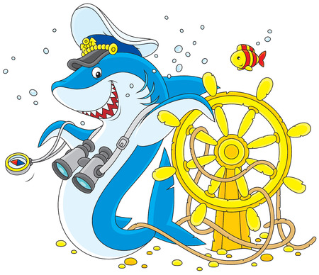 Great white shark with a  steering wheel Vector