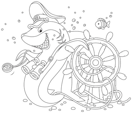 carcharodon: shark captain  with a  steering wheel Illustration