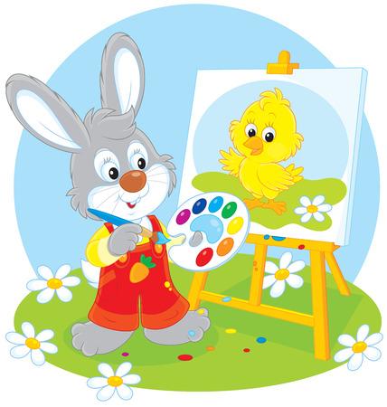 conejo caricatura: Conejo de Pascua pintor