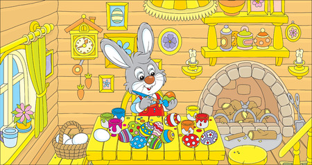 log basket: Rabbit coloring Easter eggs to the holiday