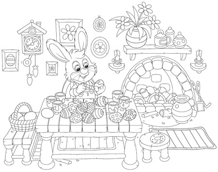 cottontail: rabbit coloring Easter eggs