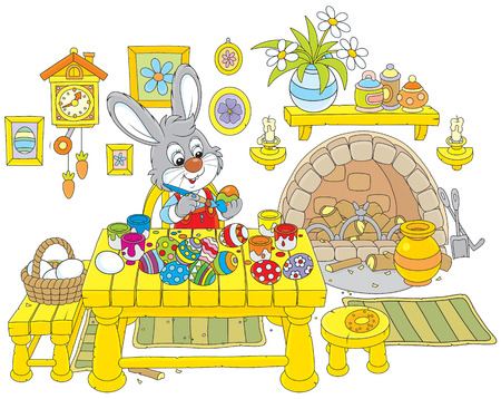 cottontail: Little rabbit coloring Easter eggs to the holiday