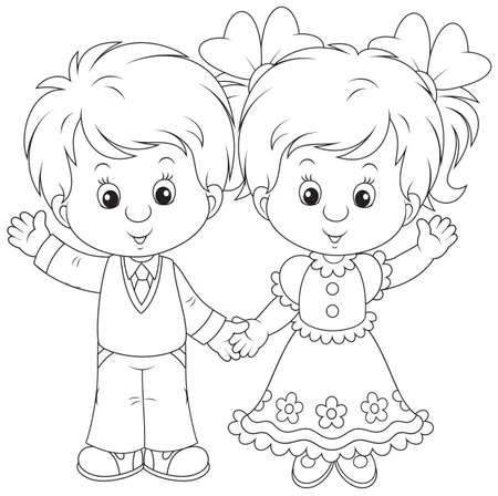 little boy and girl: Little boy and girl