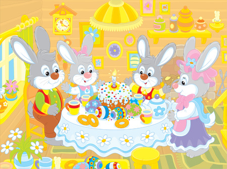 Easter bunnies at the festive table Vector