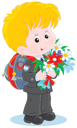 grader: schoolboy with flowers