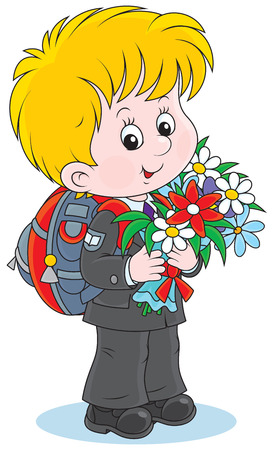 First grader with a schoolbag and flowers Vector