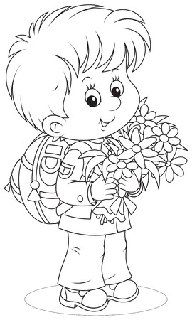 schooldays: Little schoolboy with flowers Illustration