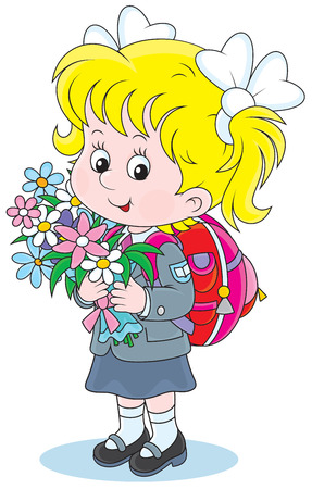 child of school age: schoolgirl with a schoolbag and flowers
