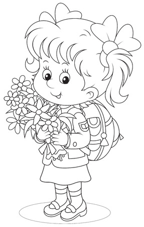 child of school age: First grader with flowers
