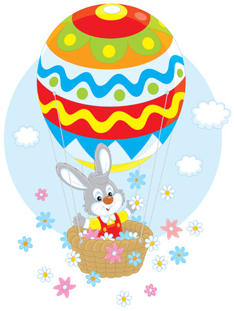cottontail: rabbit flies in a balloon colored like an Easter egg