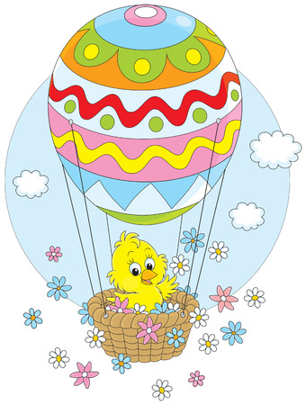 hot chick: Easter Chick flying in a balloon