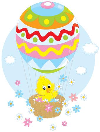 hot chick: Little yellow chicken flies in an air balloon