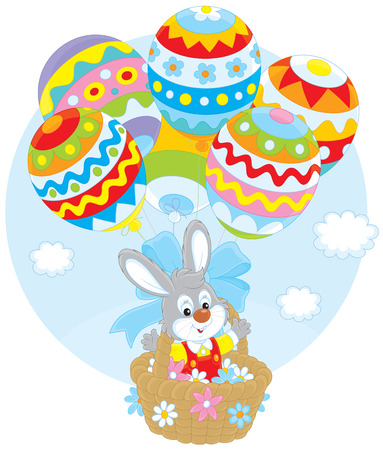 festal: Easter Bunny flies with balloons