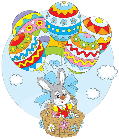 eastertide: Easter rabbit flies in a basket with balloons